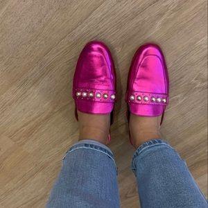 📌NWOT ALDO Metallic Pink Embellished Mules